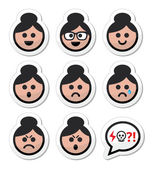 Grandma face, woman with bun hair vector icons set — Stock Vector