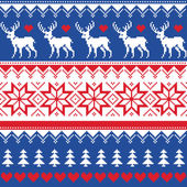 Nordic seamless pattern with deer and christmas trees — Stock Vector