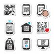 QR code on mobile or cell phone icons set — Stock Vector #35849211