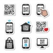 QR code on mobile or cell phone icons set — Stock vektor