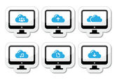 Computer and cloud vector icons set for web — Stock Vector