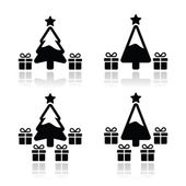 Christmas tree with presents icons set — Stockvektor
