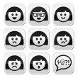 Smiley girl or woman faces, avatar vector buttons set — Stock Vector