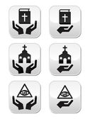 Religion buttons - hands with bible, church, eye of god — Stock Vector