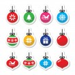 Christmas ball, christmas bauble vector icons set — Stock Vector