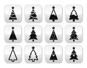 Christmas tree vector buttons set — Stock Vector