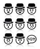 Man in hat faces vector icons set — Stock Vector