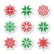 Christmas, winter snowflakes vector icons set — Stock Vector #36180407