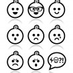 Baby boy faces, avatar vector icons set — Stock Vector