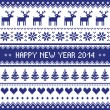 Happy New Year 2014 - scandynavian christmas pattern — ベクター素材ストック