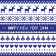 Happy New Year 2014 - scandynavian christmas pattern — Stock Vector