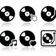 Vinyl record, dj vector icons set — 图库矢量图片