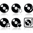 Vinyl record, dj vector icons set — Stockvectorbeeld