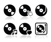 Vinyl record, dj vector icons set — Stock Vector