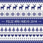 Feliz Ano Nuevo 2014 - spanish happy year pattern — Stock Vector
