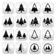 Pine tree vector buttons set  — Stock Vector