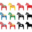 Swedish dala horse vector icons set  — Stock Vector