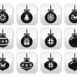 Christmas ball, christmas bauble vector buttons set — Stock Vector