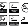 No smoking, smoking area vector icons set — ベクター素材ストック
