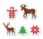 Christmas winter pixelated vector icons set — Stock Vector