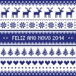 Feliz Ano Novo 2014 - protuguese happy new year pattern — Stock Vector