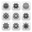 Christmas, winter snowflakes vector buttons set — Stock Vector