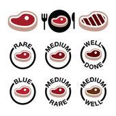 Steak - mittel, selten, gut gemacht, gegrillte icons set — Stockvektor
