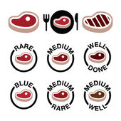 Steak - středně, vzácné, výborně, grilované ikony nastavit — Stock vektor
