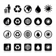 Man and bin, recycling, globe, eco power icons set — Stock Vector