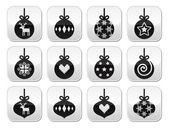 Christmas ball, christmas bauble vector buttons set — Stockvector