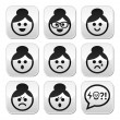 Grandma face, woman with bun hair vector buttons set — Stock Vector