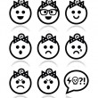 Baby girl faces, avatar vector icons set — Stock Vector