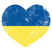 Ukraine retro heart flag - vector — Stockvektor