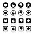 Like thumb up, love, favorite icons set — Stock Vector #37131043