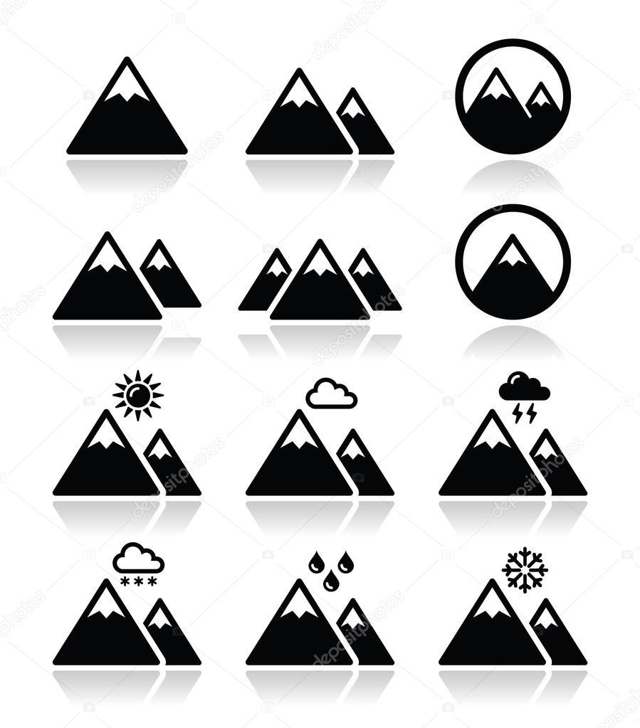Iconos vectoriales de montaña establecen — Vector de stock ...