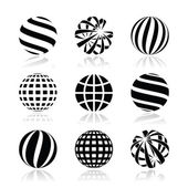 Globe sphere, earth vector icons set — Stock Vector