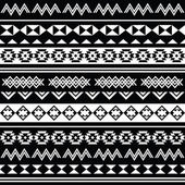 Aztec tribal seamless black and white pattern — Stock Vector