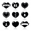 Love hearts icons set for Valentines Day — Stock Vector #37392565