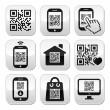 QR code on mobile or cell phone buttons set — Stock Vector #37538559