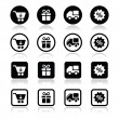 Shopping on internet black icons set with shadow — Stock Vector