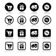 Shopping on internet black icons set with shadow — Stock Vector #37565201