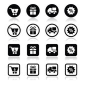 Einkaufen im internet, die schwarzen icons mit schatten festlegen — Stockvektor