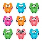 Owl cartoon vector icons set — Stock Vector #38340433