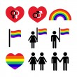 Gay and lesbian couples, rainbow vector icons set — Stock Vector