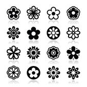 Flower head vector icons set — Stock Vector