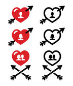 Man and woman, couples in Hearts with arrow, valentines icons set — Stock Vector