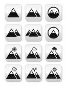 Mountain vector buttons set — Vettoriale Stock