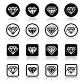 Diamond, luxury vector icons set — Stock Vector