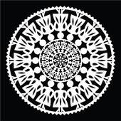 Polsk traditionell folkmusik mönster i cirkel med kvinnor på svart bakgrund — Stockvektor