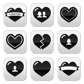 Love,hearts icons set for Valentine's Day — Cтоковый вектор